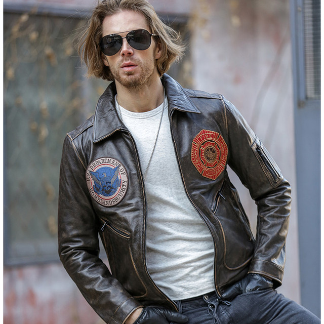 2017 Men Retro Vintage Brown Leather Pilot Jacket Real Thick Cowhide Slim Fit Winter Aviator Coat Factory Direct FREE SHIPPING