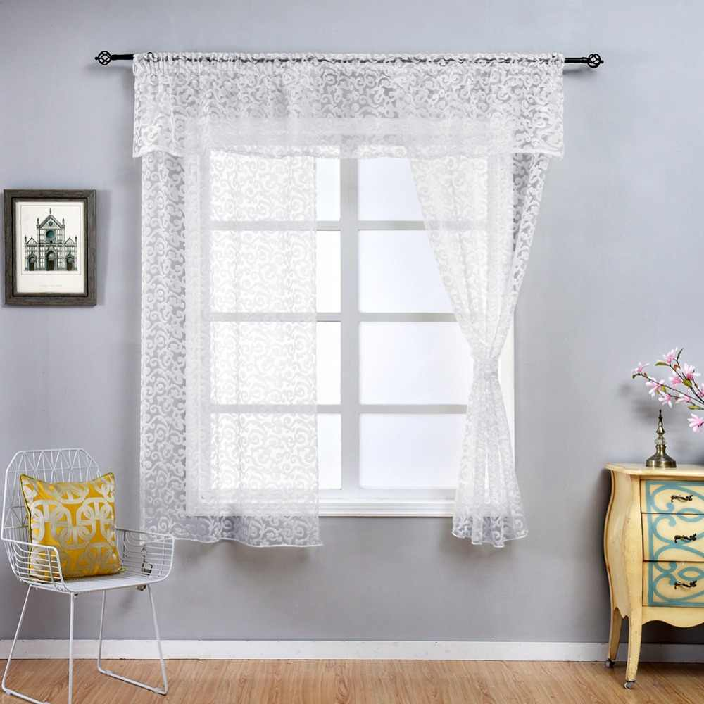 NAPEARL Classic Floral Kitchen Rod Pocket Curtains Window Valance and Tiers Sheer Short Drapes Jacquard Tulle Bay Window Voile