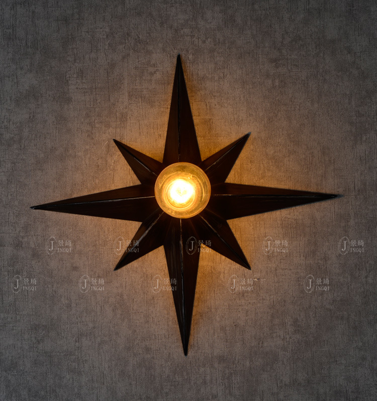 American Industrial Retro Loft Style Wrought Iron Eight Pointed Star Wall Light Coffee Shop Bar Vintage Light Free Shipping american country industrial vintage loft style wrought iron 3 head pendant light restaurant coffee shop retro lamp free shipping