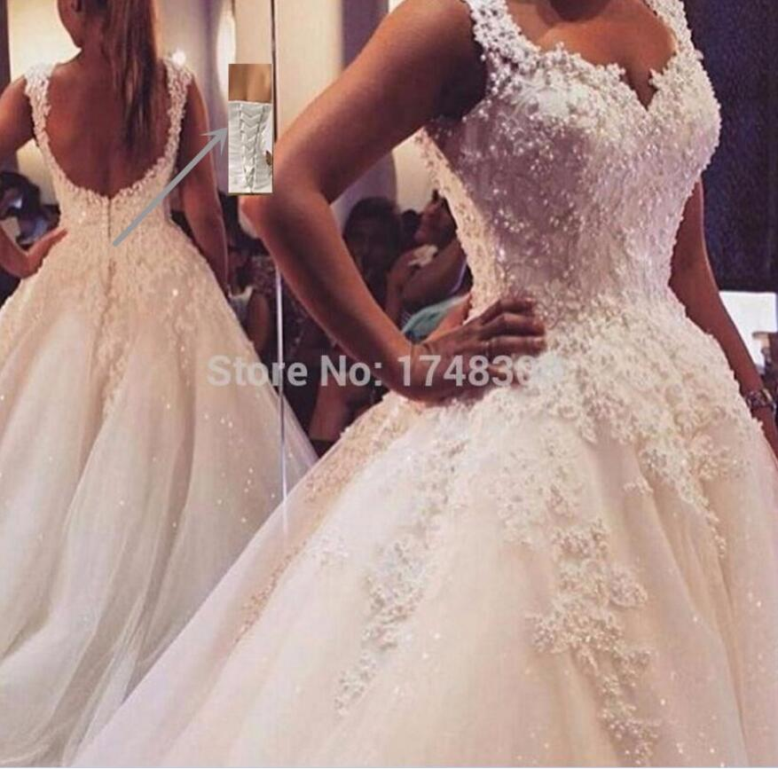ZJ9076 Custom Made White Ivory Pearls Sweetheart Bride Dresses Wedding Princess Girl Lace Edge Maxi Formal Plus Size 2-26W
