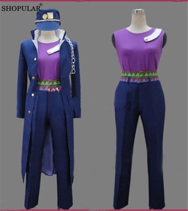 Accurato Anime Jojo 's Bizarre Adventure Jotaro Kujo Cosplay Costume Outfit Cappotto Uniforme Vestito Pieno Set Jacket + Shirt + Pants + Cappello + Cintura Nuovo Buona Conservazione Del Calore