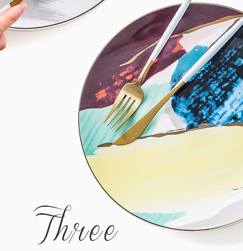 1PCS Dinnerware Painting Gold Inlay Colorful Cloud 8 /10 inch Ceramic Plate Dinner Porcelain Cake Snack Dessert Plate