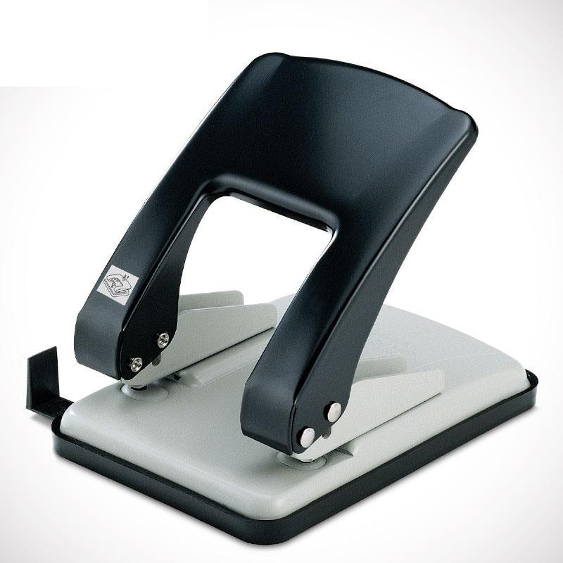 Monumented heavy duty double hole punch metal 2 manual punch 6mm No.9760;punches up to 40 sheets of 80 gsm paper 2 hole heavy duty punch 6mm holes 80mm hole distance 60 sheets capacity less force hole puncher built in paper guide