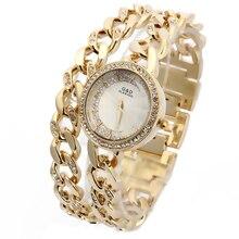 купить 2016 New Luxury Women's Watch Wrist Watches Analog Quartz Stainless Steel Band Rhinestone Bracelet Double Chain по цене 1172.36 рублей