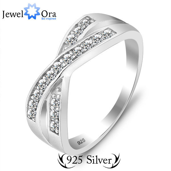 Genuine 925 Weddings & Events Brand Best Gift Rings For Women AAA Cross Sterling 925 Silver Ring (JewelOra Ri100576)