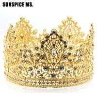 Elegent Oversize Vintage de Luxe Strass Cristal Quinceanera Brial Princesse Couronne Femmes De Mariage Tiara Fleur Jewlery