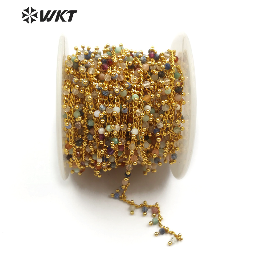 WT RBC094 WKT New wholesale five meters batch of natural multi color stone mixed with brass