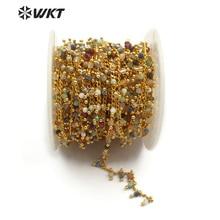 WT RBC094 WKT Nuovo commercio allingrosso cinque metri/lotto di naturale multi pietra di colore misto con ottone rosario dei monili della catena che fanno la collana