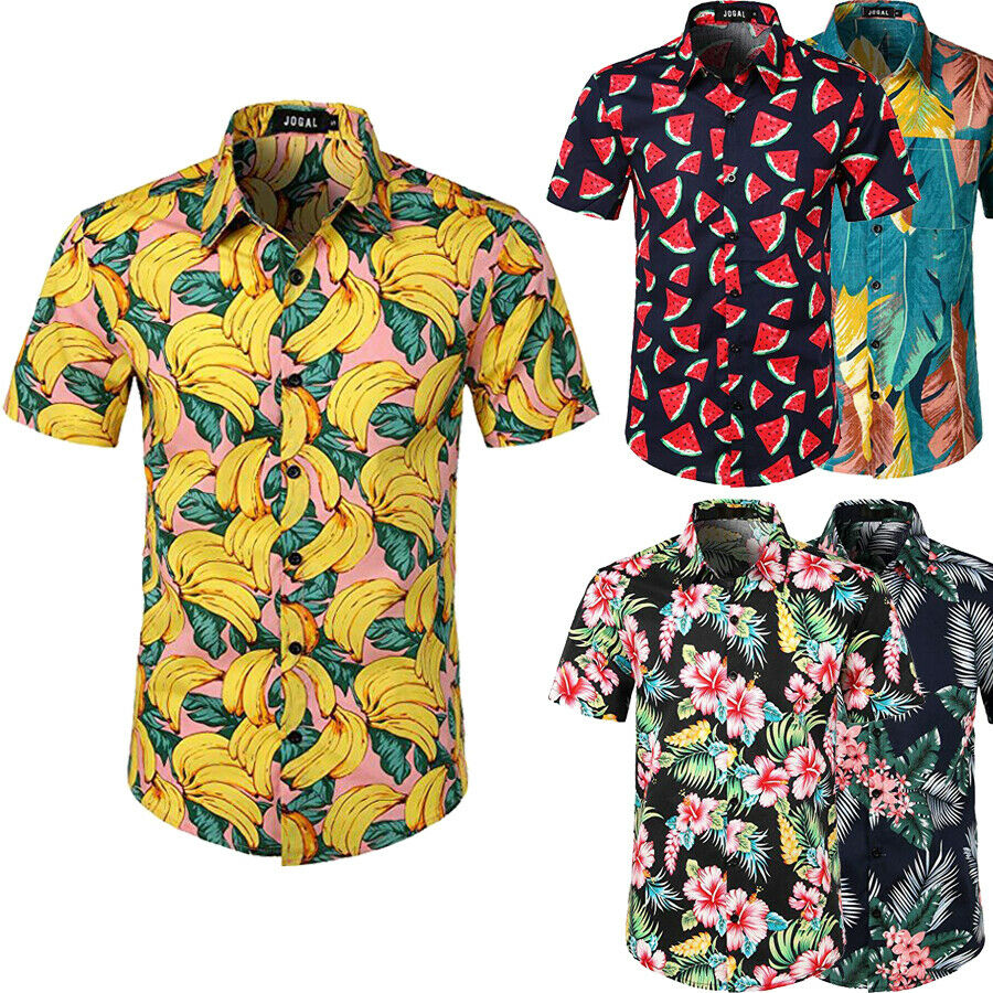 NEW Men Hawaiian Shirts Summer Floral Printed Male Cotton Beach Short Sleeve Camp Shirt