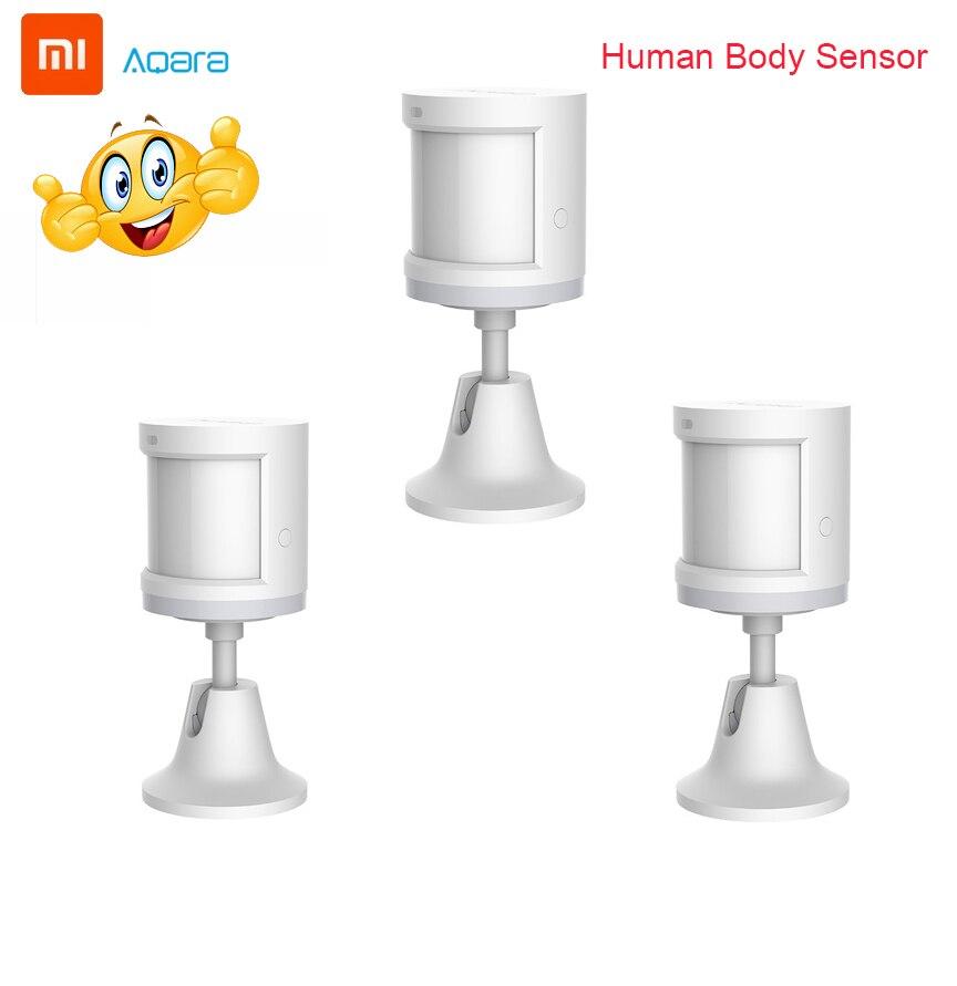 A granel Xiaomi Aqara cuerpo humano inteligente Sensor de movimiento del cuerpo Sensor de movimiento Zigbee conexión Mihome App a través de Android y IOS Smart A casa