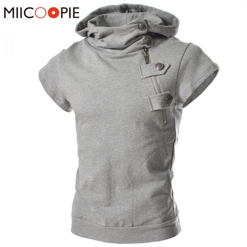 Summer Men Casual Solid Fashion Oblique Zipper Button Slim Fit Mens Short Sleeve Hoodies Male Pullovers Sweatshirts Streetwear