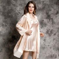 Июань брендовые пикантные Для женщин шелк рубашка халат наборы из двух частей 100% Шелковый спальный платье с длинными рукавами халат для дом