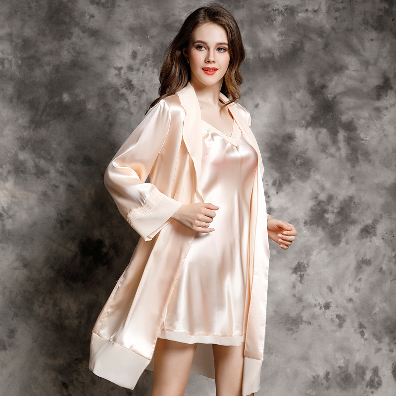 YIYUAN Brand Sexy Women Silk Nightdress Robe Sets Two Piece 100% Silk Sleeping Dress Long Sleeved Bathrobe Lounge Set P9937