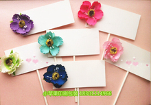 12PCS/LOT Hand Made Silk Flower Series Cupcake Topper Picks Party Decoration Print Your Design