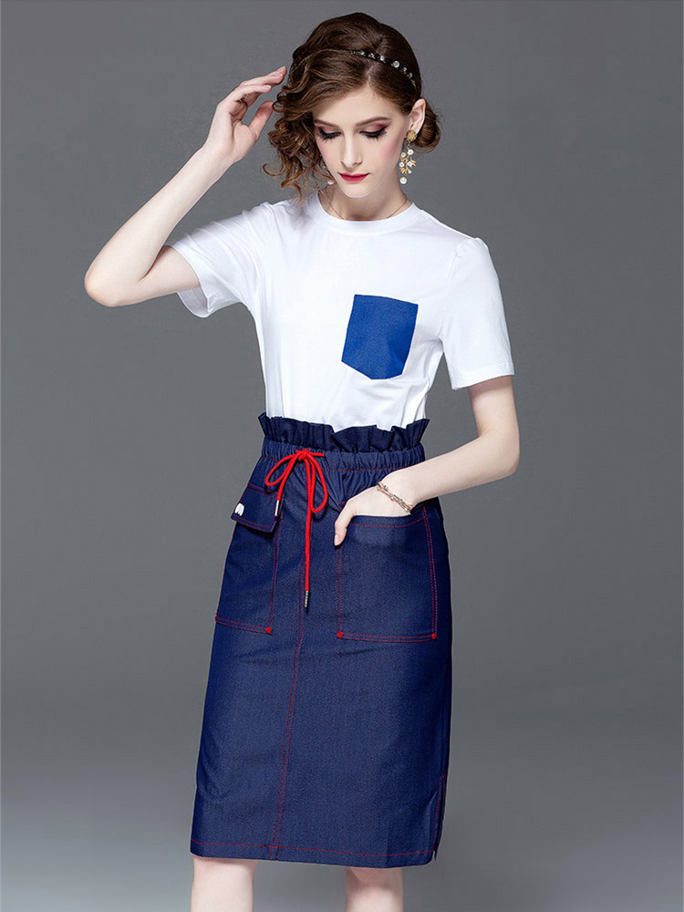 High Quality Fashion Two Piece Woman 2019 Summer New T-shirts + Skirt Polka Dot Street Casual Top Skirt Sets Elegant Summer L245