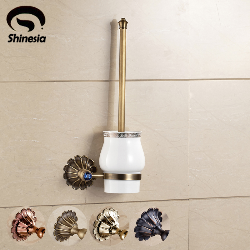 Solid Brass Wall Mounted Bathroom Toilet Brushed Holder Brush Cup Holder