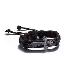 Fashion Jewelry Cross Heart Alloy Bracelet Leather Bracelet Women Casual Personality Hand made Vintage Black Punk Bracelet Men