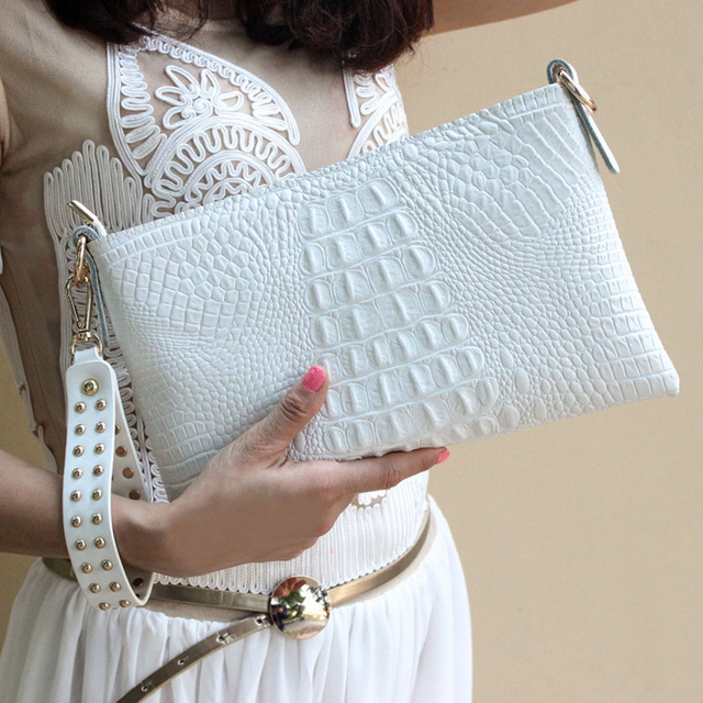 White Envelope Evening Clutch Bag Crocodile Pattern Leather Genuine Messenger Women Bags Crossbody Purses and Handbag Designer