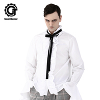 Vintage Men's White Shirts Bow Tie Vertical Stand Collar Flare Sleeve Emperor Costume Fashion For Party Cosplay