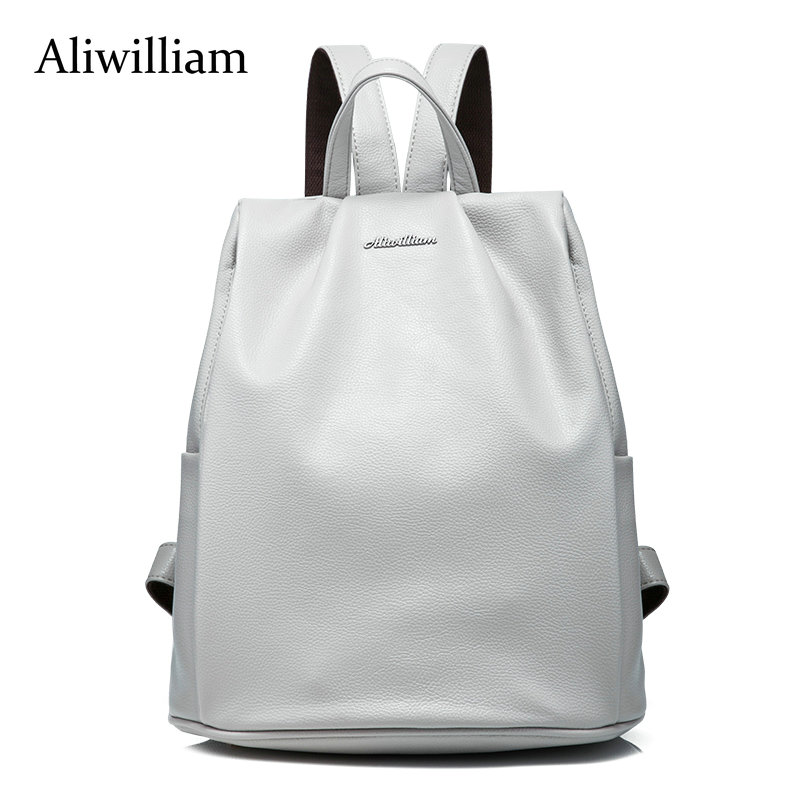 Aliwilliam Genuine Leather Rivet Backpack College Style Women s Backpack School Bags for Teenagers ladies bag