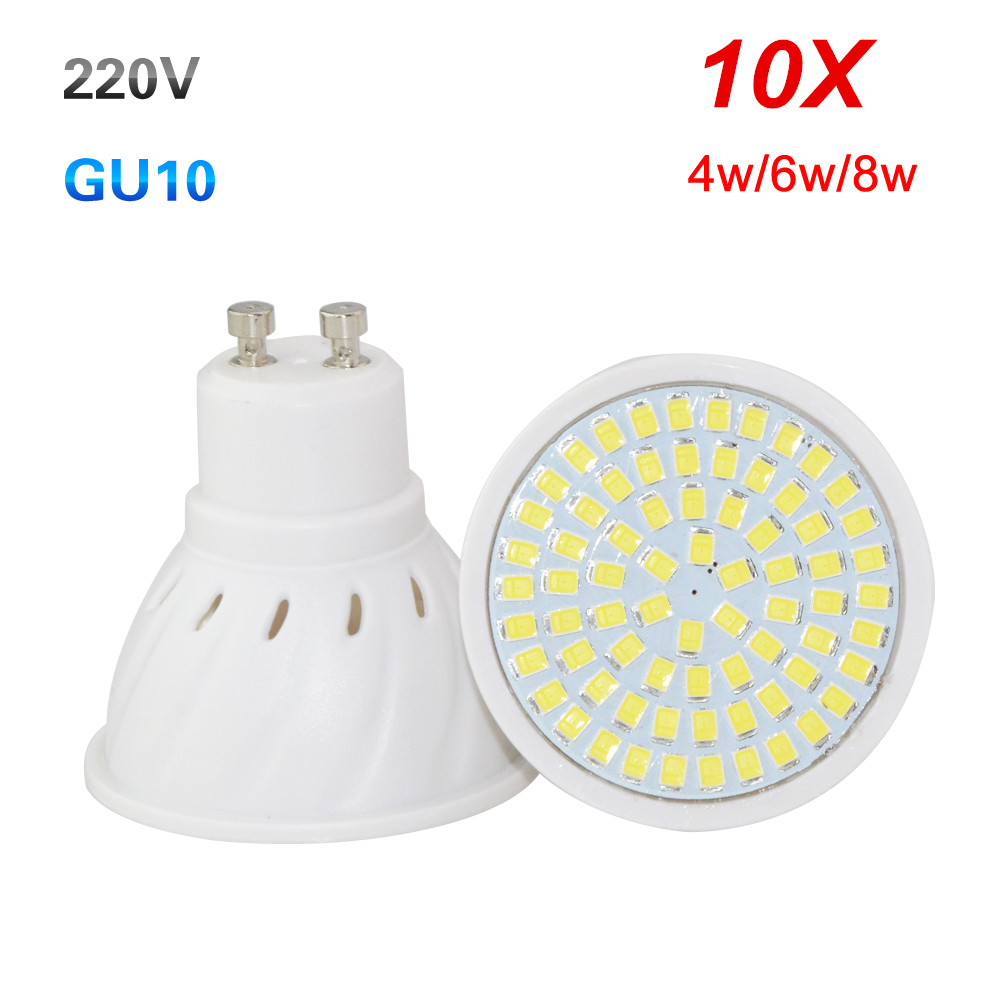10X GU10 LED Spot Light 4W 6W 8W Full Power 36Leds 54Leds 72Led Lamp For Kitchen Hotel Art Lighting Lampada Led AC220V 230V 240V