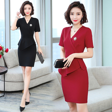 Professional dress new women's OL false two-piece set bag buttock beautician work clothes skirt temperament thin work clothes