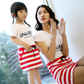 2016 New summer mother daughter dresses family look mommy and me dresses striped s oft cotton high quality fashion family suits