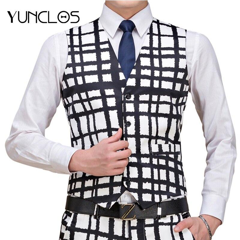 YUNCLOS New Arrival Mens Suit Vest Fashion Wedding Men Slim Fit Vests And Waistcoat Printed Men Dress Suit Vest