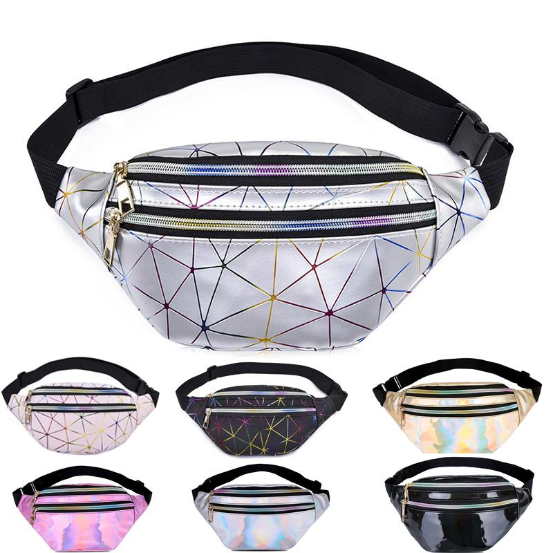 Holographic LXFZQ Waist Bags Women Silver Fanny Pack Female Belt Bag Black Geometric Waist Packs Laser Chest Phone Pouch