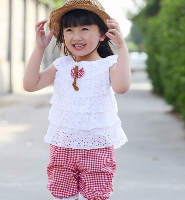 New Summer Lace T Shirt And Lattice shorts Pants Children Clothing Set  Kid Girl Clothes Set 2 Colors For SHM