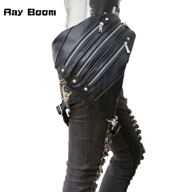 Fashion Vintage Designer Steampunk Women Bag High Quality PU Leather Waist Bags Female Punk Gothic Multi-function Motorcycle Bag