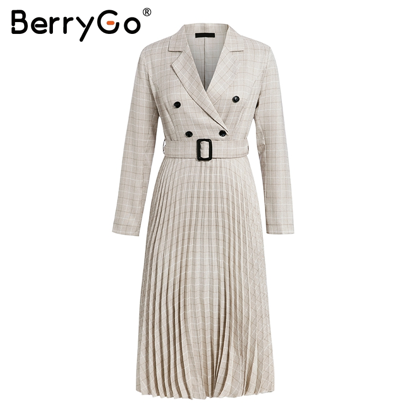 BerryGo Autumn winter women blazer dresses vestidos Pleated plaid long dress elegant Office ladies high waist belt female robe 9