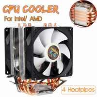 , 3 Pin, 4 Heatpipes enfriador de CPU ventilador de refrigeración del radiador tranquilo doble refrigerador ventilador disipador de calor para Intel LGA 1150/1151/1155/1156/1366/775 AMD