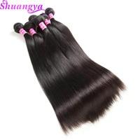 Shuangya Hair Brazilian Straight Hair Weave bundles 100% Human Hair Bundles Natural Color 8-28Inch 1PC Non Remy Hair Extensions