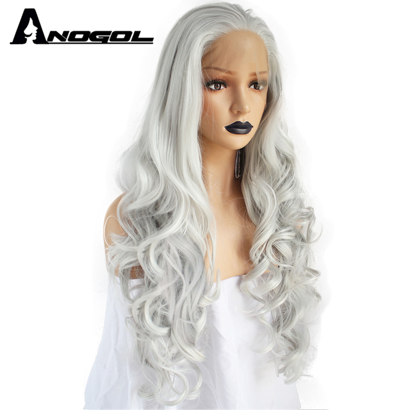Anogol High Temperature Fiber Grey Hair Wigs Long Natural Body Wave Gray White Silver Synthetic Lace