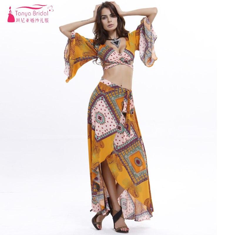 Floral Printed   Bridesmaid     Dresses   Cheap Chiffon Split Bohemian Wedding Guest Gowns Two Pieces Vestido De Festa ZB061