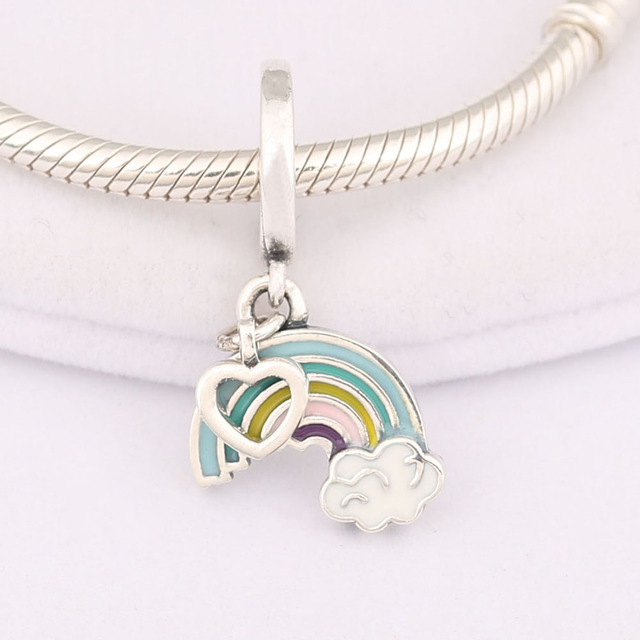 ae6cb656e solid 925 Sterling Silver Rainbow of Love Charm Mixed Enamel Dangle Charms  Fit Pandora European Bracelets Jewelry