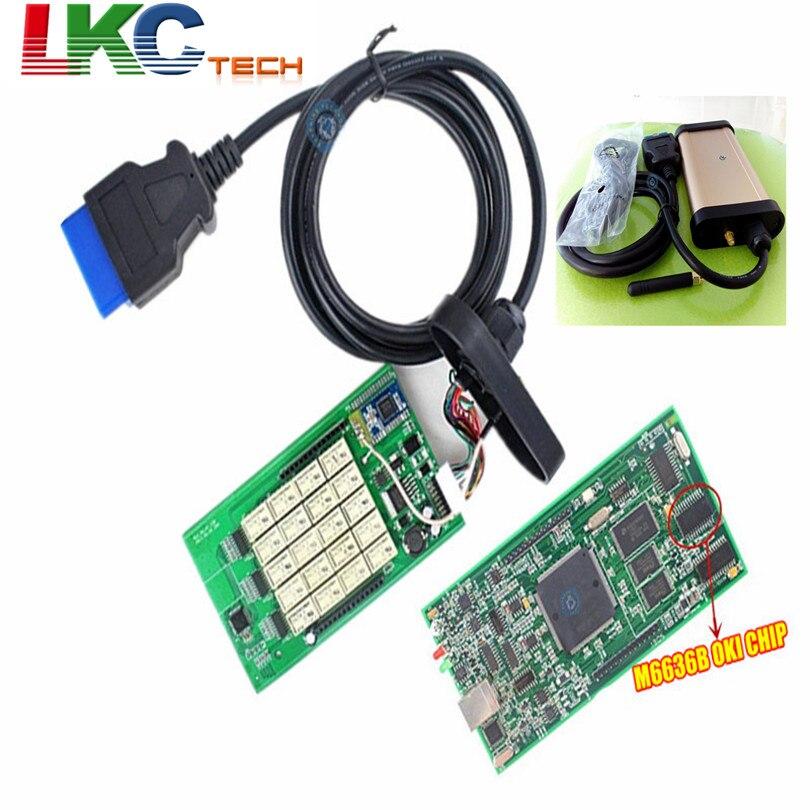 10 шт./лот DHL Бесплатная последние 2015 R1 инструмент диагностики TCS CDP OKI (M6636B OKI чип) для автомобилей и грузовиков с картонной коробке + Bluetooth