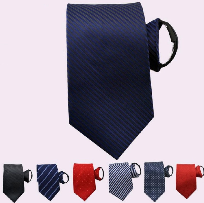 8cm 7cm Zipper Necktie  Zip Tie For Men Ascot Business Striped Ready Ties