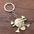 Julie Hot Sale Anime One Piece Keychain Luffy Straw Hat Skull Logo Pendant Key Ring Holder for Fans Gift Llavero porte clef