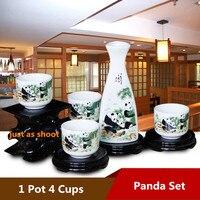 [1 TeaPot+4 TeaCups] 5Pcs Chinese KungFu Panda tea pot cup bone China wine cups Ceramic tea set Coffee Drinkware Safe Package