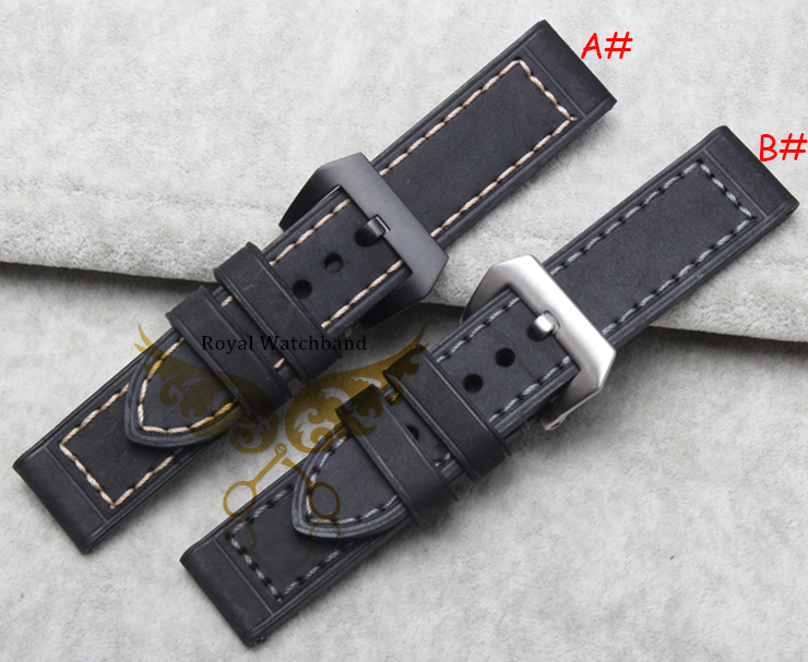 26mm New High Quality Men Wristwatch Grey Genuine Leather Watch Band Strap With Black Brushed Stainless Steel Buckle Clasp brand men wristwatch new 22mm top grade brushed stainless steel watchband band strap with double push clasp buckle free shipping