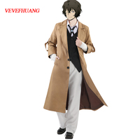 VEVEFHUANG Bungo Stray Dogs Armed Detective Agency Osamu Dazai Cosplay Trench Coat Suit Pants Vest Literary Stray Dogs Halloween