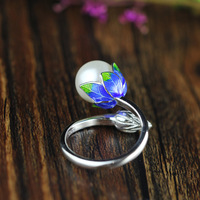 L&P Fashion Ring Pearl Jewelry Cloisonne Flower Rings Natural Freshwater Pearl 925 Sterling Silver Jewelry For Women Gift