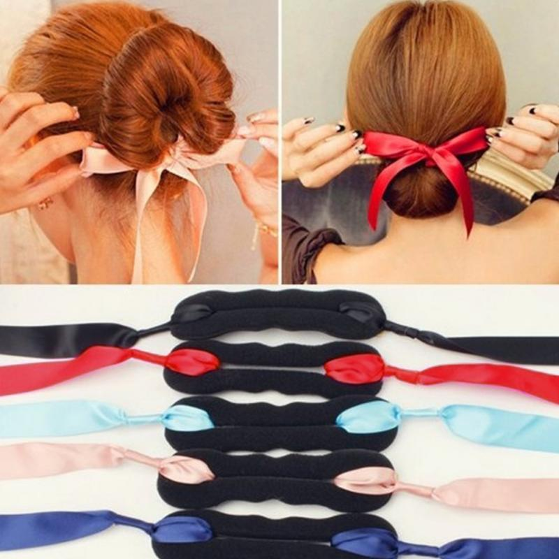 Hot Sale 1 PC Women Magic Hair Tools Foam Sponge Quick Curls Bun Hairstyle Girl Hair Bows Band Hair disk Silk Headband