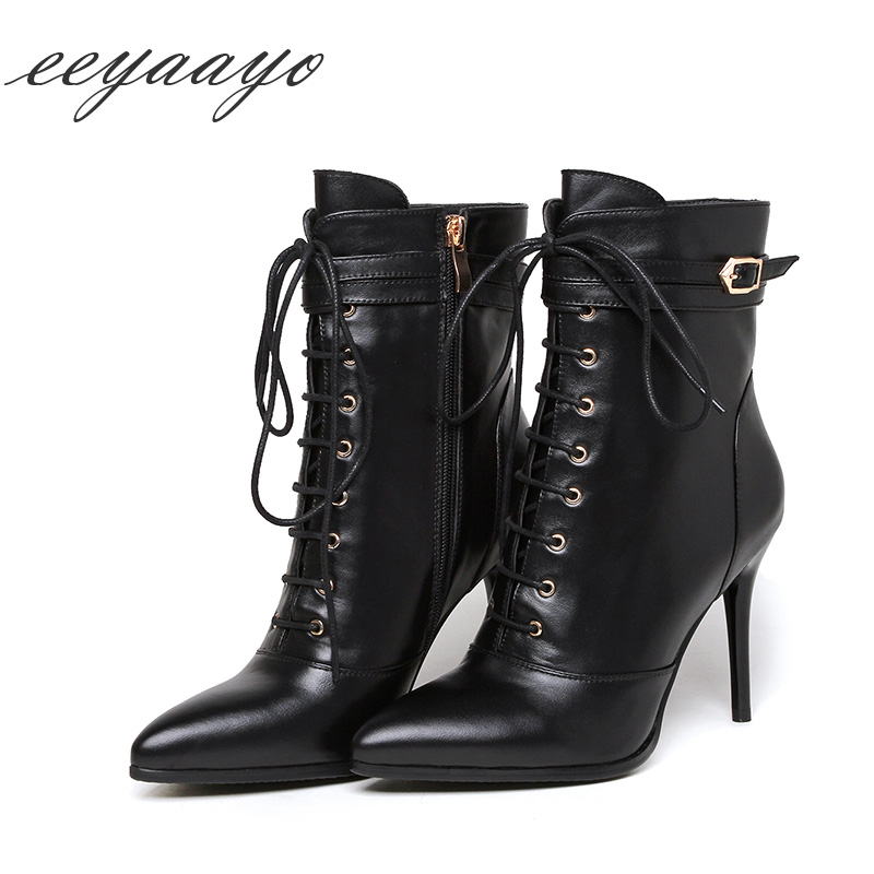 Genuine leather ankle spring boots women shoes high thin heel cow leather cross-tied belt buckle classic sexy ladies pointed toe belts for women classic wild female minimalist thin belt women s belt leather belts cinturon hombre cinto feminino