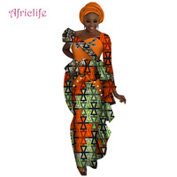 Fashion 2019 spring summer autumn Africa Dresses for women vestidos Print Fabric Elegant Africa Clothes Ruffles Clothing WY4604