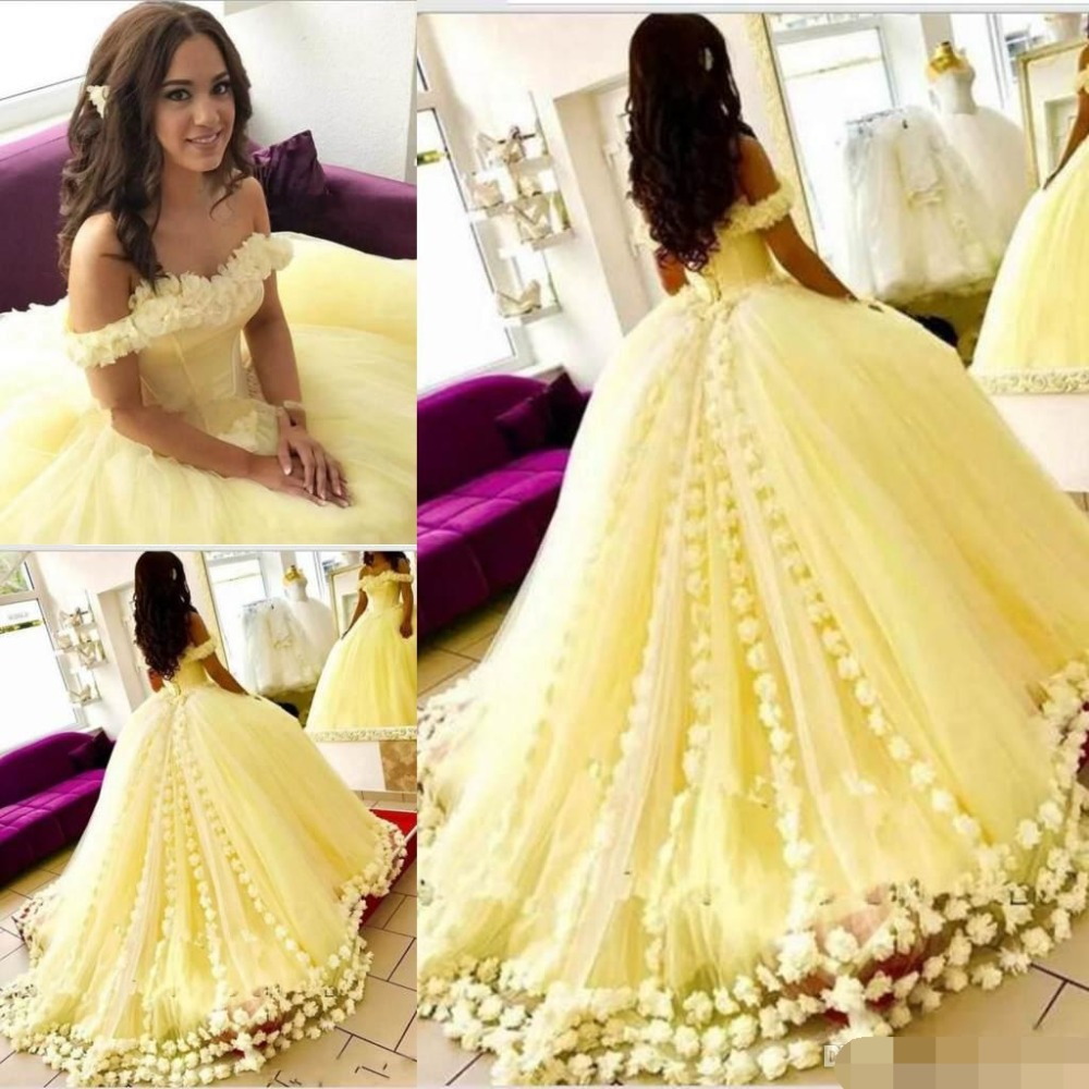 Gorgeous Yellow Wedding Dresses Off The Shoulder 3D-Floral Ball Gown 2019 Arrival Sweet 16 Wedding Dresses Vestidos De 15 Anos