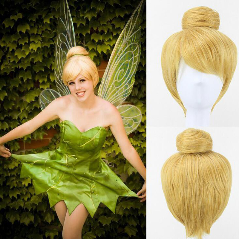 30cm Short Blonde Cosplay Wig Fairy Tinker Bell Full Hair Wigs Princess Tinkerbell Adult Size Synthetic+Wig Cap