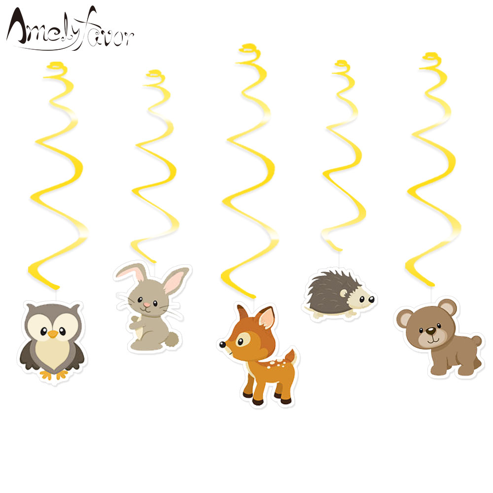 Us 3 63 26 Off Woodland Animals Ceiling Hanging Swirl Decorations Cutout Baby Shower Girl Party Supplies Diy Decor Event Party Festive In Banners